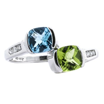 10K White Gold Peridot and Blue Topaz Diamond Accent Bypass Ring
