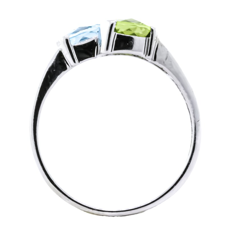 Estate Jewelry 10K White Gold Peridot and Blue Topaz Diamond Accent Bypass Ring