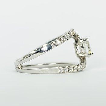 14K White Gold Bypass Split Shank Oval Center Diamond Engagement Ring