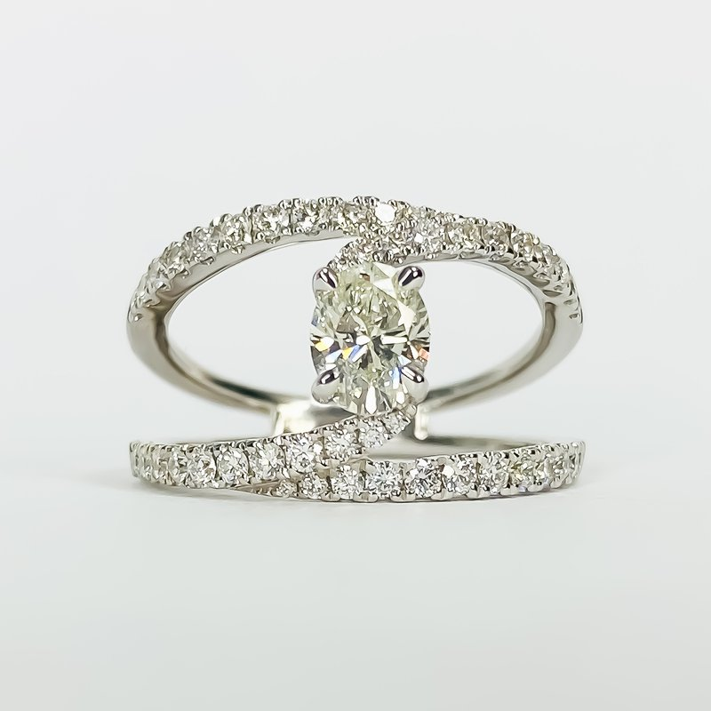 Iroff and Son Jewelers  14K White Gold Bypass Split Shank Oval Center Diamond Engagement Ring