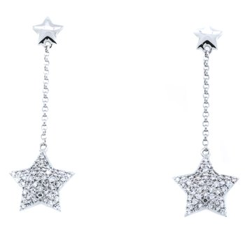 14K White Gold Drop Star Diamond Earrings