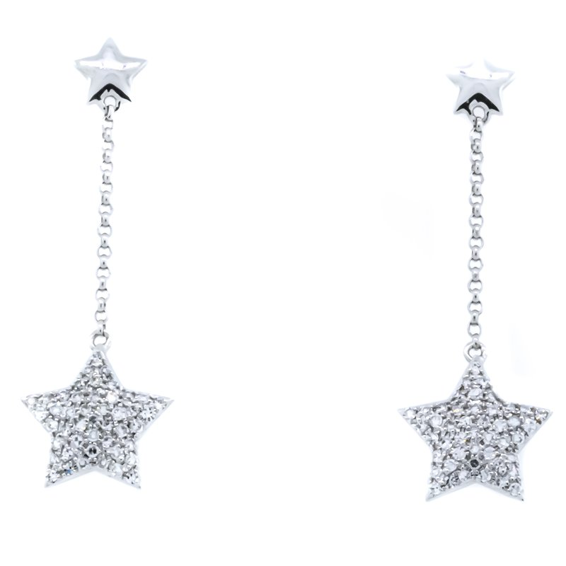 Iroff and Son Jewelers  14K White Gold Drop Star Diamond Earrings