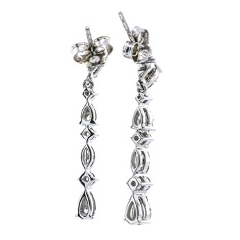 10K White Gold Pear Dangle Diamond Earrings