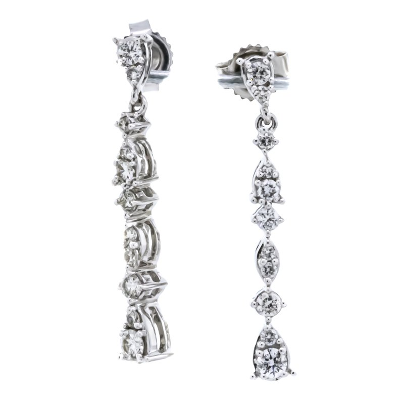 Iroff and Son Jewelers  10K White Gold Pear Dangle Diamond Earrings