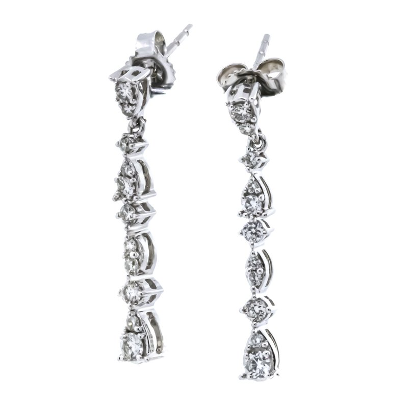Iroff and Son Jewelers  10K White Gold Pear Dangle Diamond Earrings