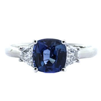 Platinum 3 Stone Color Change Sapphire and Diamond Ring
