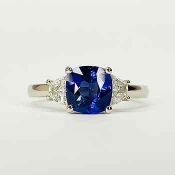 Platinum 3 Stone Color Change Sapphire and Diamond Ring