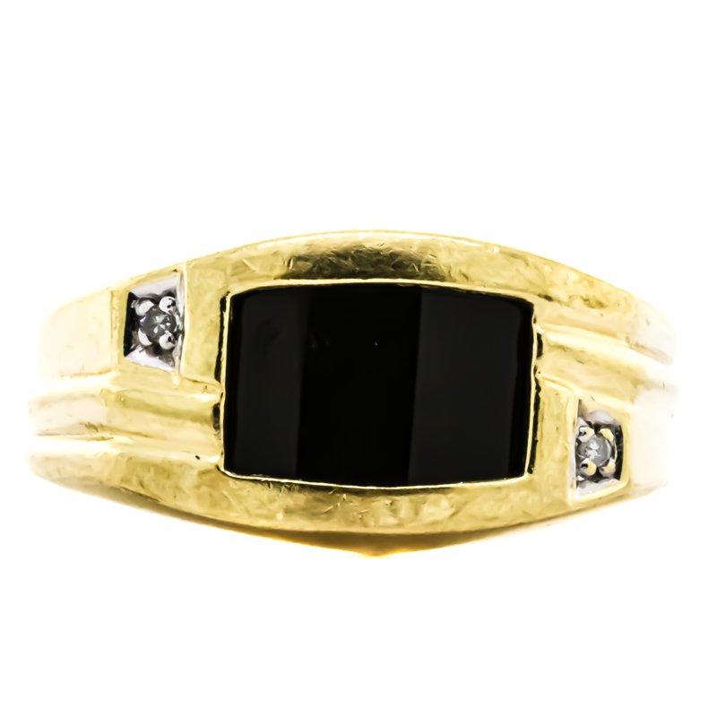Estate Jewelry 10K Gold Onyx Cap Signet Style Diamond Accent Ring