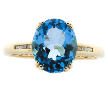 14K Yellow Gold Oval Blue Topaz With Diamond Accent Ring SZ 7