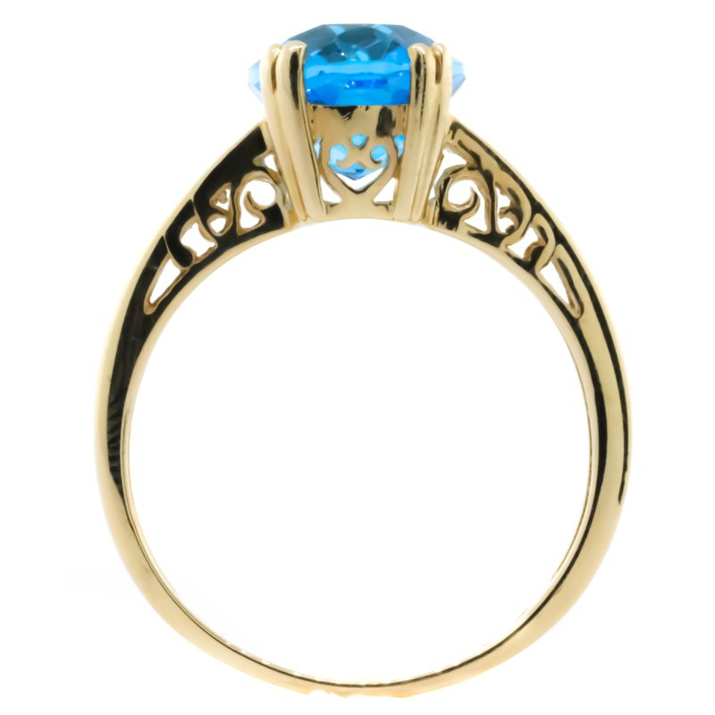Iroff and Son Jewelers  14K Yellow Gold Oval Blue Topaz With Diamond Accent Ring SZ 7