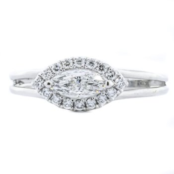 18K White Gold East West Marquise and Halo Diamond Engagement Ring SZ 6.5