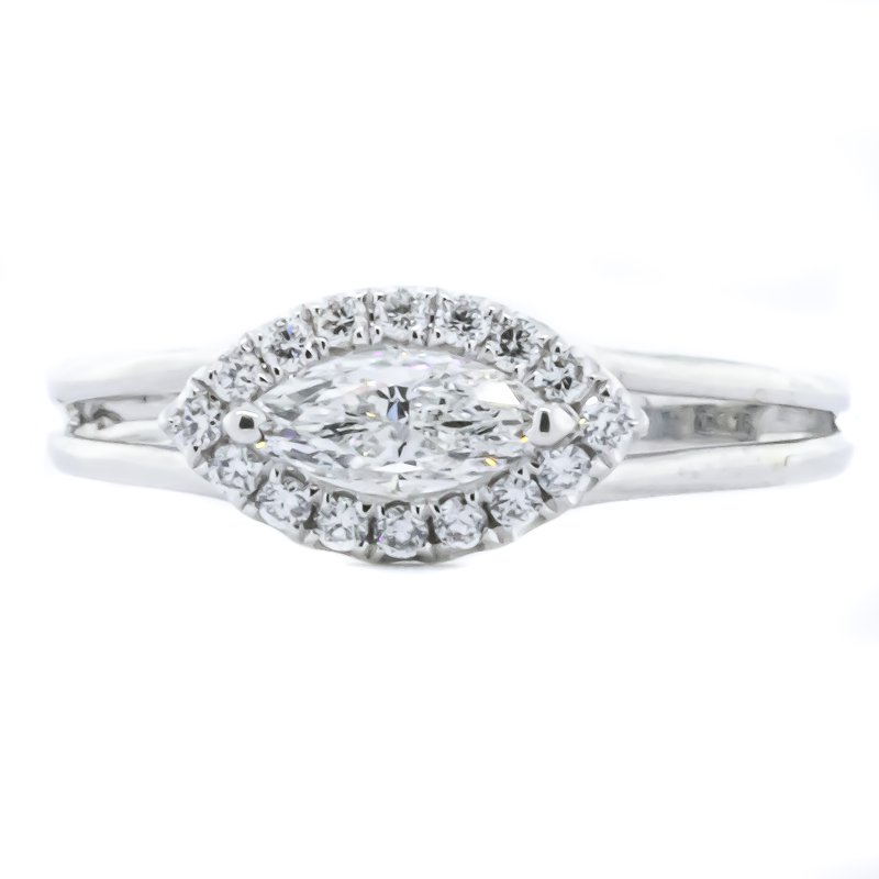 Iroff and Son Jewelers  18K White Gold East West Marquise and Halo Diamond Engagement Ring SZ 6.5