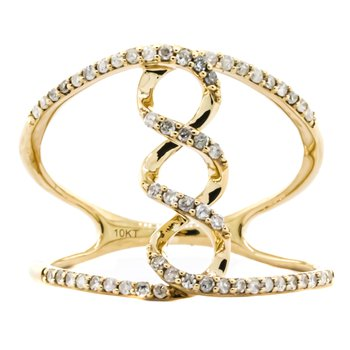 10K Gold Open Infinity Diamond Fashion Ring