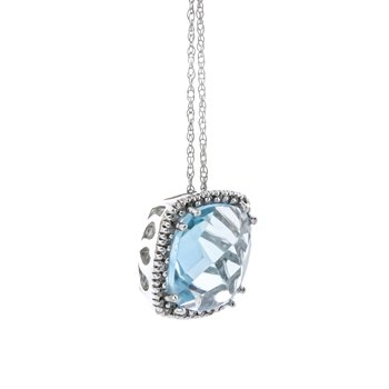 10K White Gold Sky Blue Cushion Diamond Halo Necklace 18""