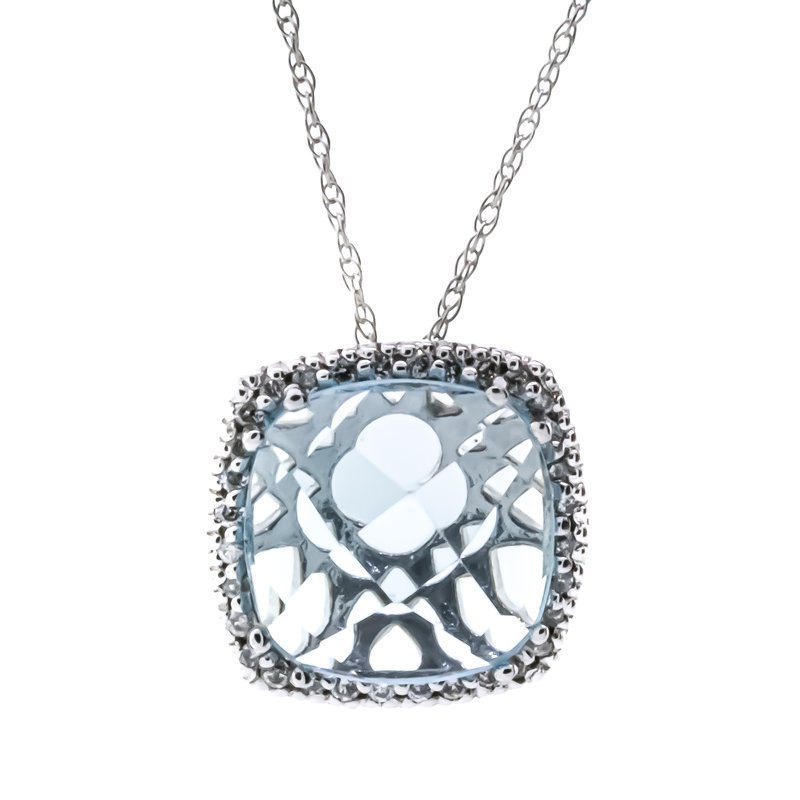 Iroff and Son Jewelers  10K White Gold Sky Blue Cushion Diamond Halo Necklace 18""