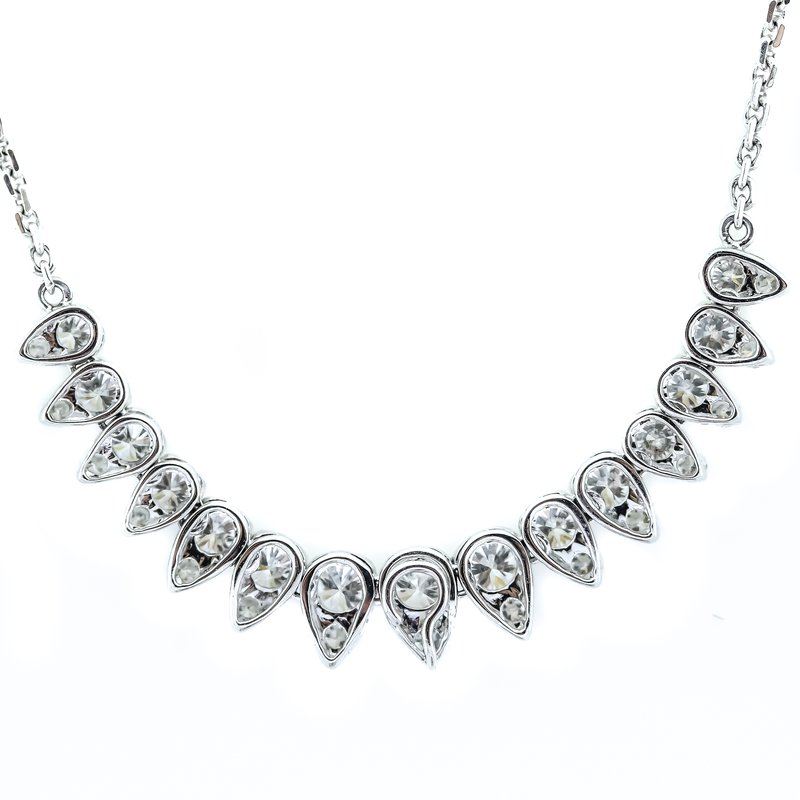 """Iroff and Son Jewelers  18K White Gold Tear Drop Diamonds 1.98CTW Necklace 17"""""""