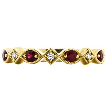 14K Yellow Gold Antique Milgrain Diamond and Ruby Wedding Band
