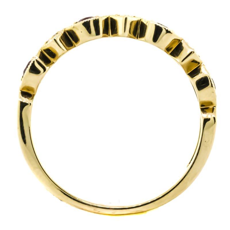 Allison-Kaufman 14K Yellow Gold Antique Milgrain Diamond and Ruby Wedding Band