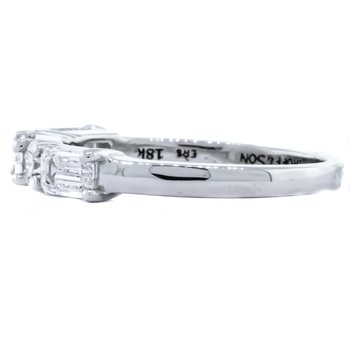 18K White Gold 5 Stone Baguette and Round Diamond Band