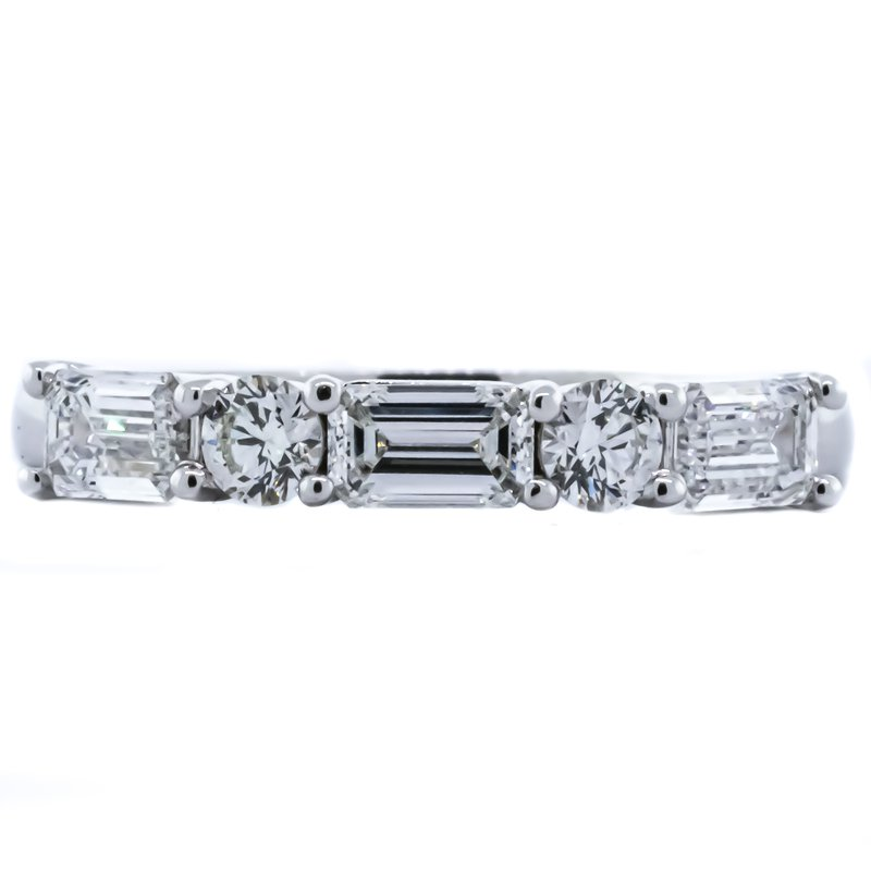 Iroff and Son Jewelers  18K White Gold 5 Stone Baguette and Round Diamond Band