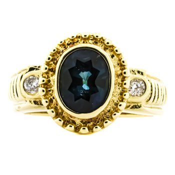 14K Gold Blue Sapphire and Diamond Halo Signet Ring