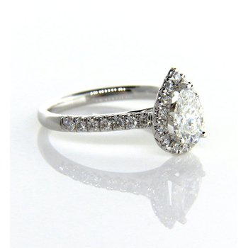 Pear Shape Halo Engagement Ring 1.24ct