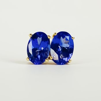 14K Yellow Gold 1.33TW Oval Tanzanite Stud Earrings