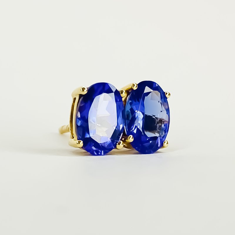 Iroff and Son Jewelers  14K Yellow Gold 1.33TW Oval Tanzanite Stud Earrings