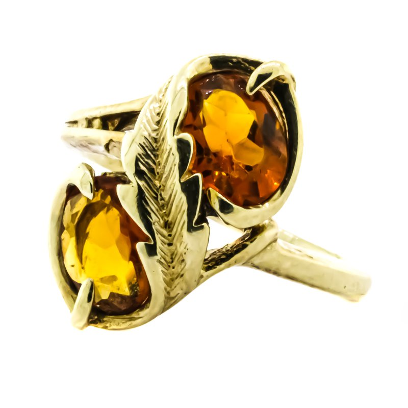 Estate Jewelry 14K Gold Leaf Design Center Double Oval Citrine Ring
