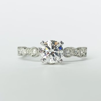 18K White Gold GIA Solitaire Circle Milgrain Band Engagement Ring SZ 6.5