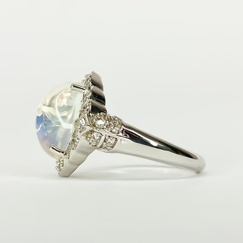 18K White Gold Aurora Moon and Diamond Vintage Style Ring