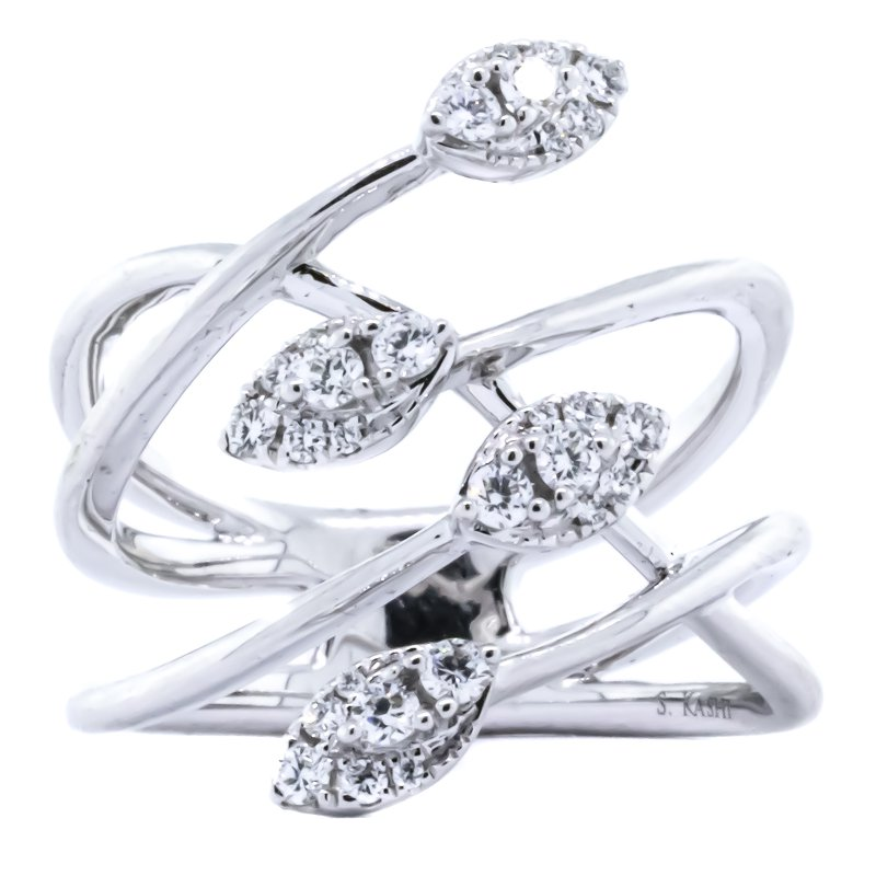 S. Kashi  & Sons 14K White Gold Wire Crisscross Marquise Cluster Diamond Wide Ring SZ 6.5
