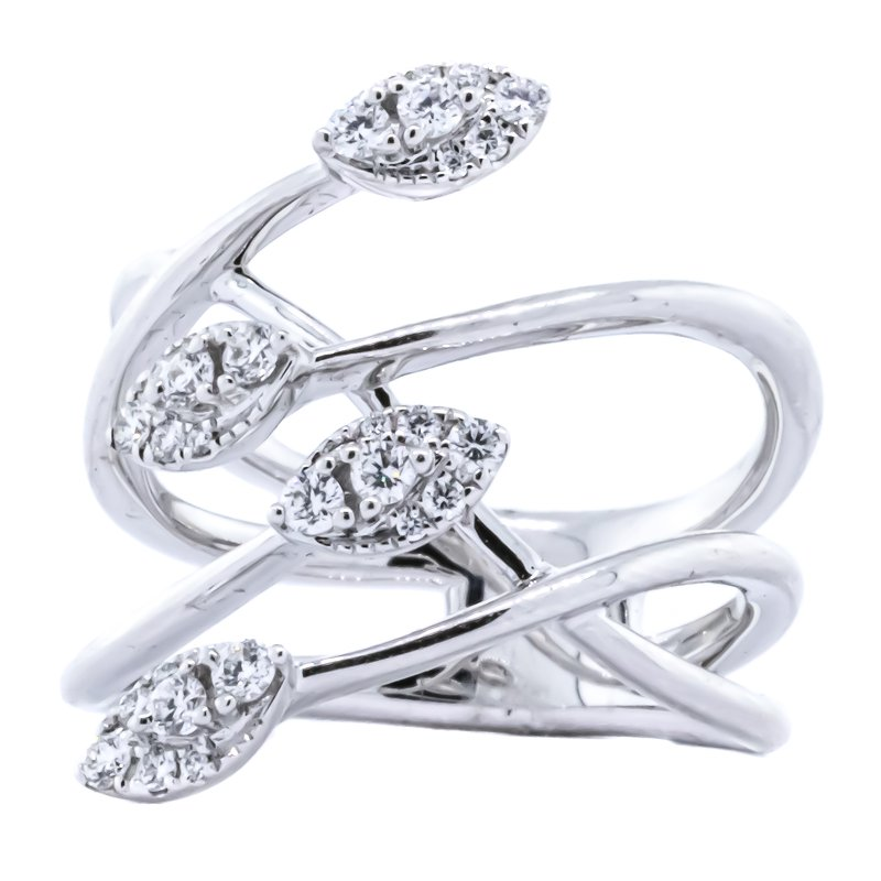 S. Kashi 14K White Gold Wire Crisscross Marquise Cluster Diamond Wide Ring SZ 6.5