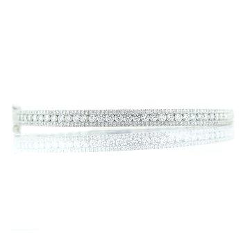 14K White Gold Diamond Triple Row Bangle Bracelet 2CTW