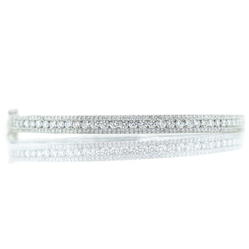 Iroff and Son Jewelers   14K White Gold Diamond Triple Row Bangle Bracelet 2CTW