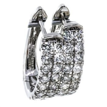 14K White Gold Double Row Half Diamond Hoop Earrings