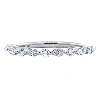 14K White Gold Marquise and Round Alternating Diamond Ring