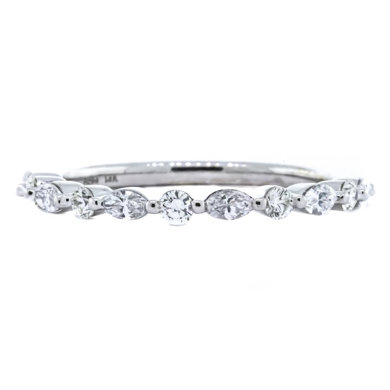 Iroff and Son Jewelers  14K White Gold Marquise and Round Alternating Diamond Ring