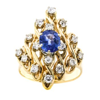 14K Gold Sapphire Single Cut Diamond Accent Ring