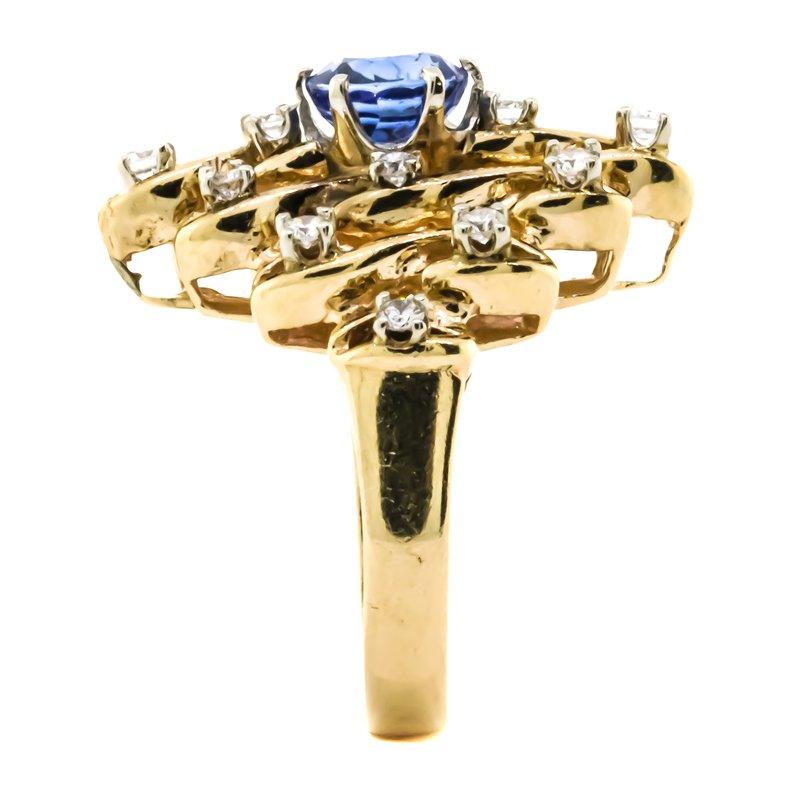 Estate Jewelry 14K Gold Sapphire Single Cut Diamond Accent Ring