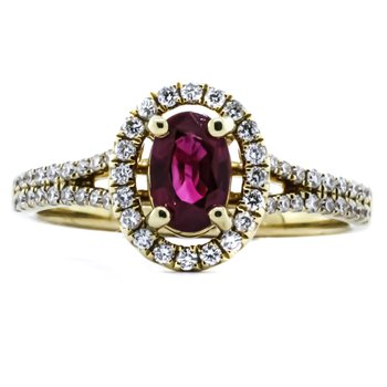 14K Yellow Gold Oval Ruby Diamond Halo Split Shank Band Ring SZ 6
