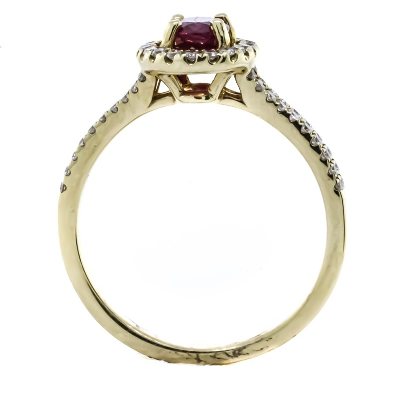 Iroff and Son Jewelers  14K Yellow Gold Oval Ruby Diamond Halo Split Shank Band Ring SZ 6