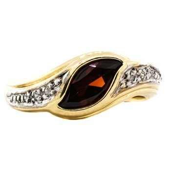 10K Gold Garnet and Diamond Bypass Style Ring