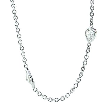 14K White Gold Multi-Shape Diamond Station Chain ADJ 18""