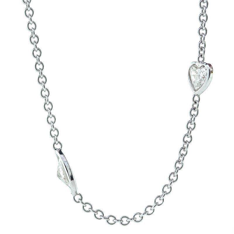 Iroff and Son Jewelers  14K White Gold Multi-Shape Diamond Station Chain ADJ 18""