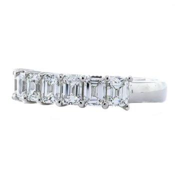 Platinum 7 Emerald Diamond Band