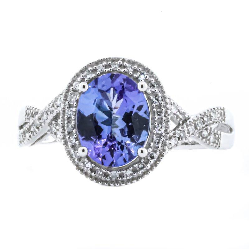Iroff and Son Jewelers  14k White Gold Oval Tanzanite Diamond Halo Twisted Shank Ring SZ 8