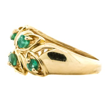 14K Gold Leaf Emerald Accent Pinky Ring