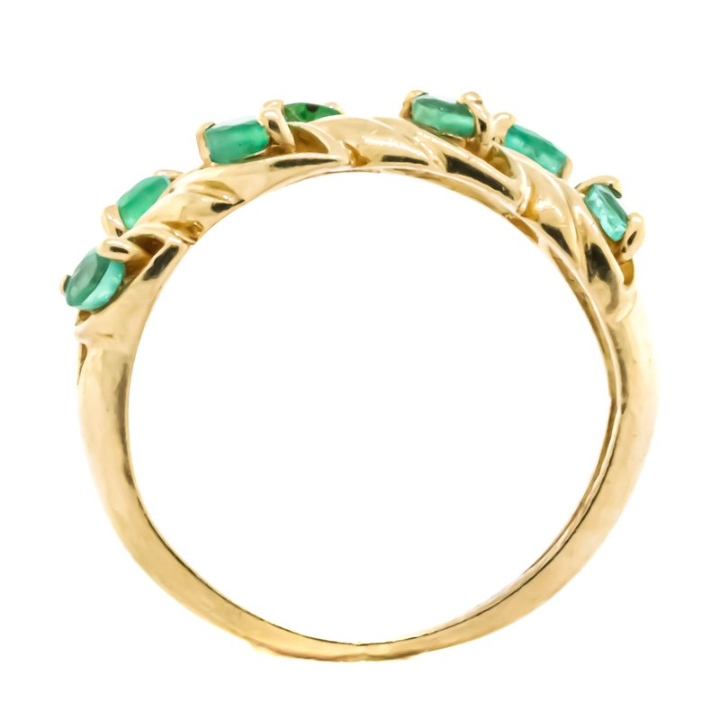 Estate Jewelry 14K Gold Leaf Emerald Accent Pinky Ring