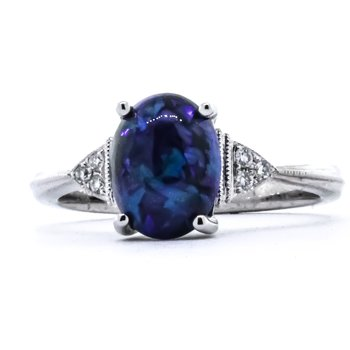 14K White Gold Oval Black Opal and Diamond Ring SZ 6.5